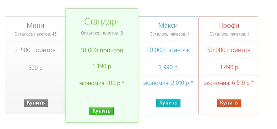 Тарифы для покупки поинтов ВТопе